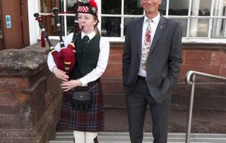 Trevor and Bagpiper Glasgow Rose Trials