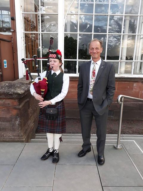 Trevor and Bagpiper Glasgow Rose Trials